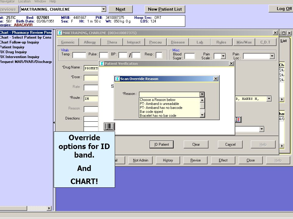 Override options for ID band.