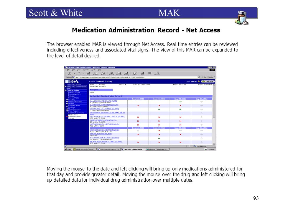 Medication Administration Record - Net Access