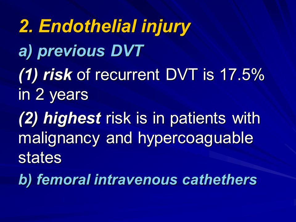 2. Endothelial injury a) previous DVT