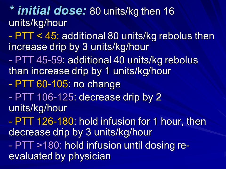 * initial dose: 80 units/kg then 16 units/kg/hour