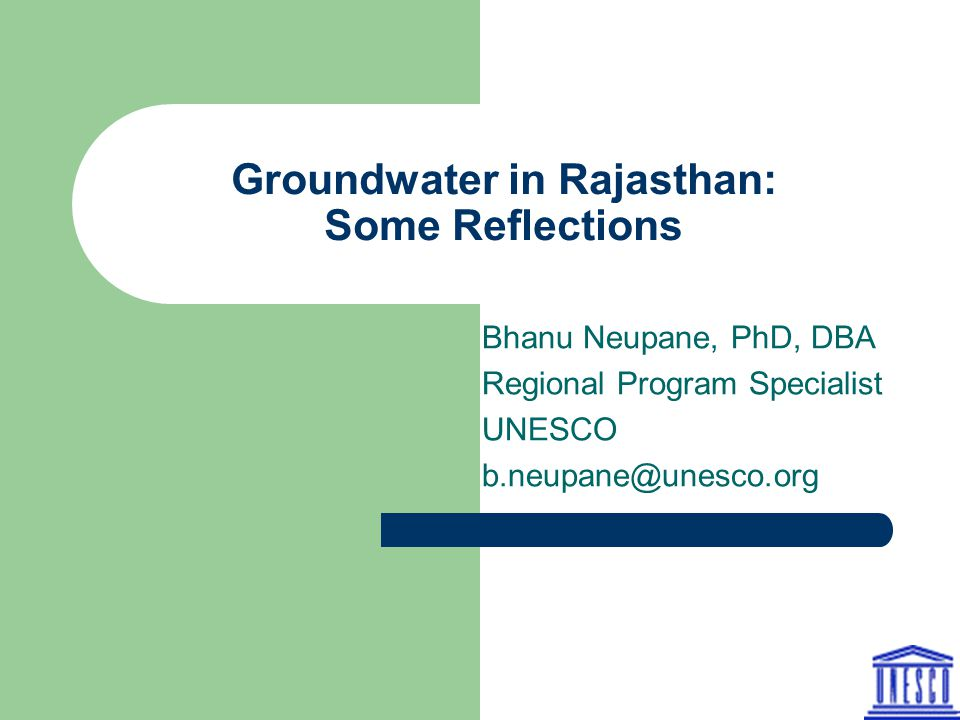 Groundwater in Rajasthan: Some Reflections