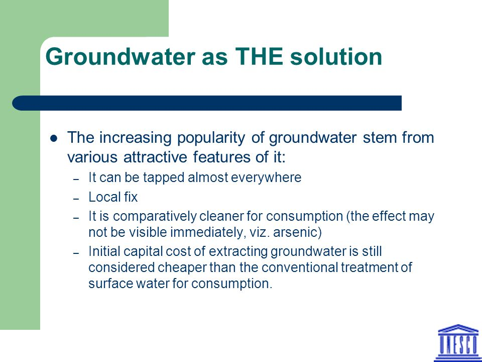 Groundwater as THE solution