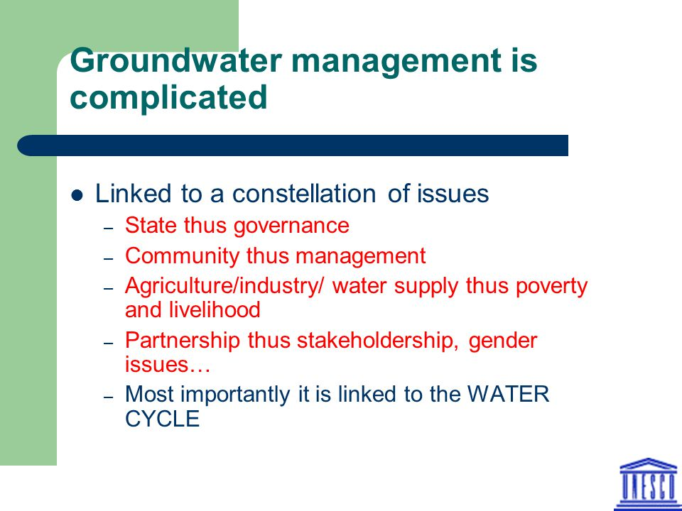 Groundwater management is complicated