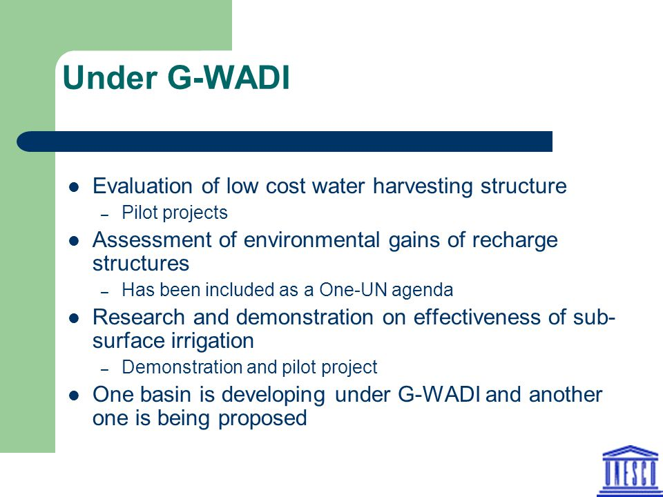 Under G-WADI Evaluation of low cost water harvesting structure