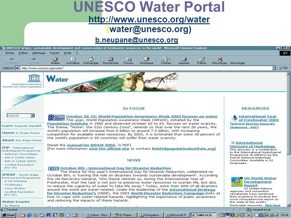 UNESCO Water Portal http://www.unesco.org/water (water@unesco.org)