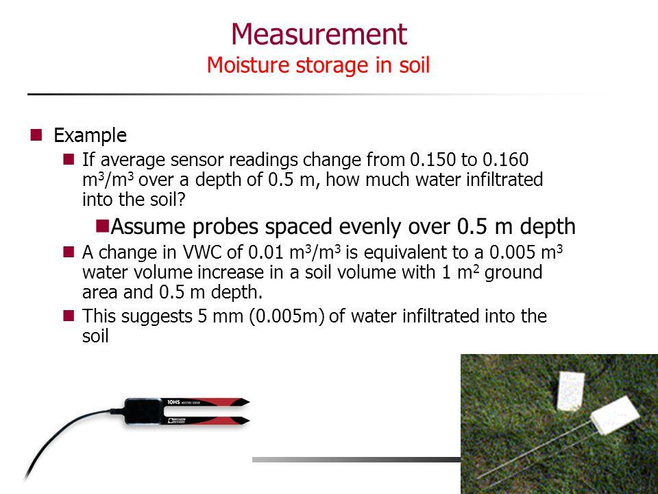 Measurement Moisture storage in soil