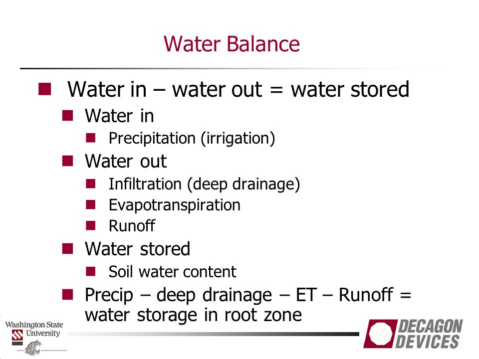 Water in – water out = water stored