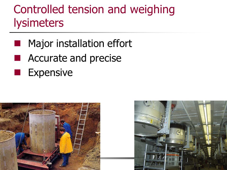 Controlled tension and weighing lysimeters