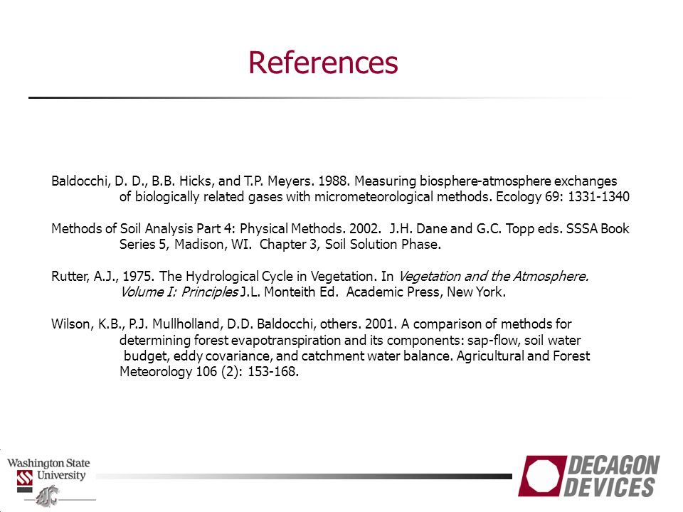 References Baldocchi, D. D., B.B. Hicks, and T.P. Meyers. 1988. Measuring biosphere-atmosphere exchanges.
