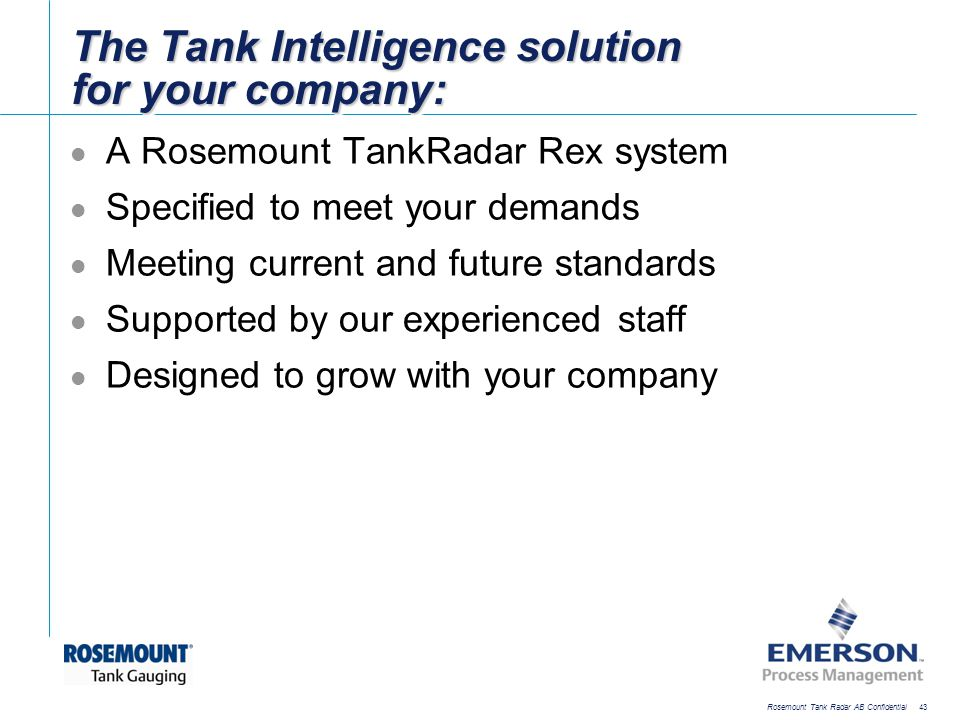 The Tank Intelligence solution for your company: