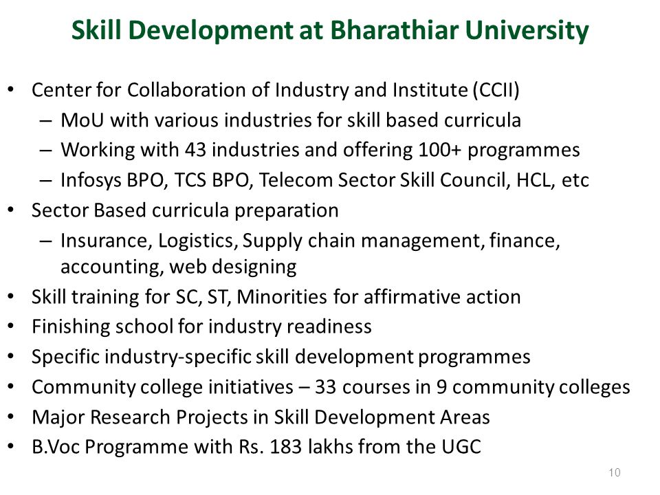 Skill Development at Bharathiar University