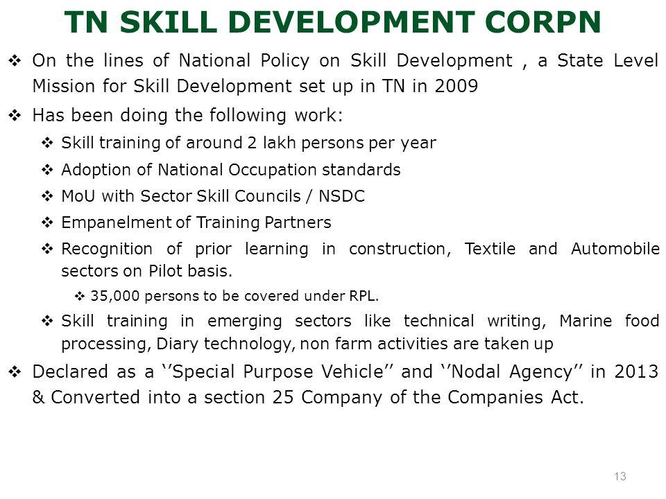 TN SKILL DEVELOPMENT CORPN