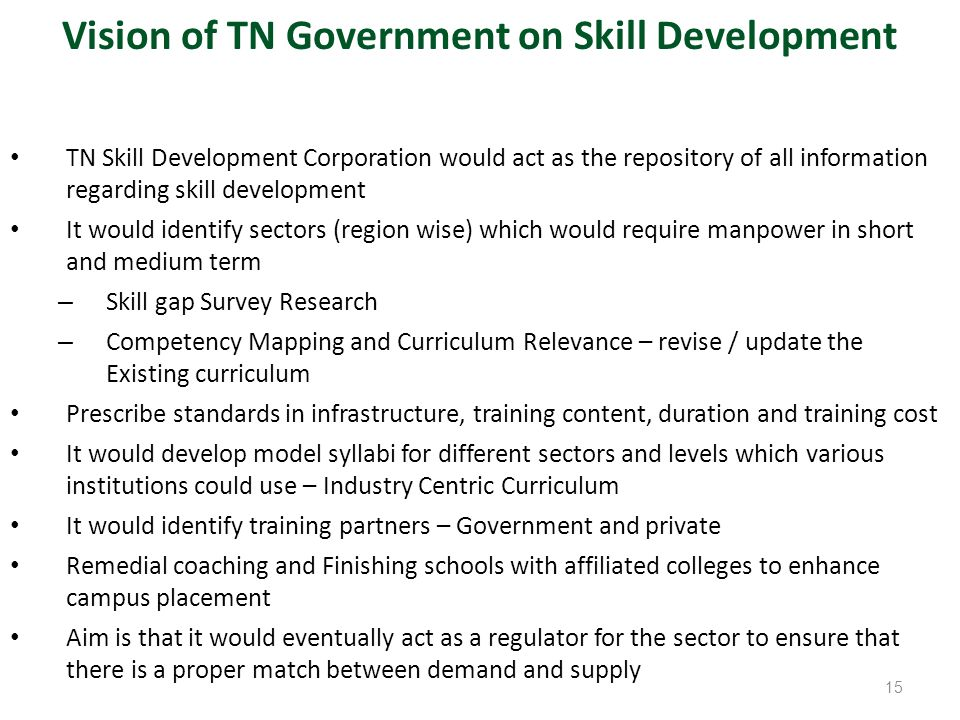 Vision of TN Government on Skill Development
