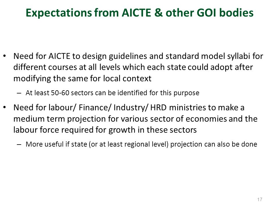 Expectations from AICTE & other GOI bodies