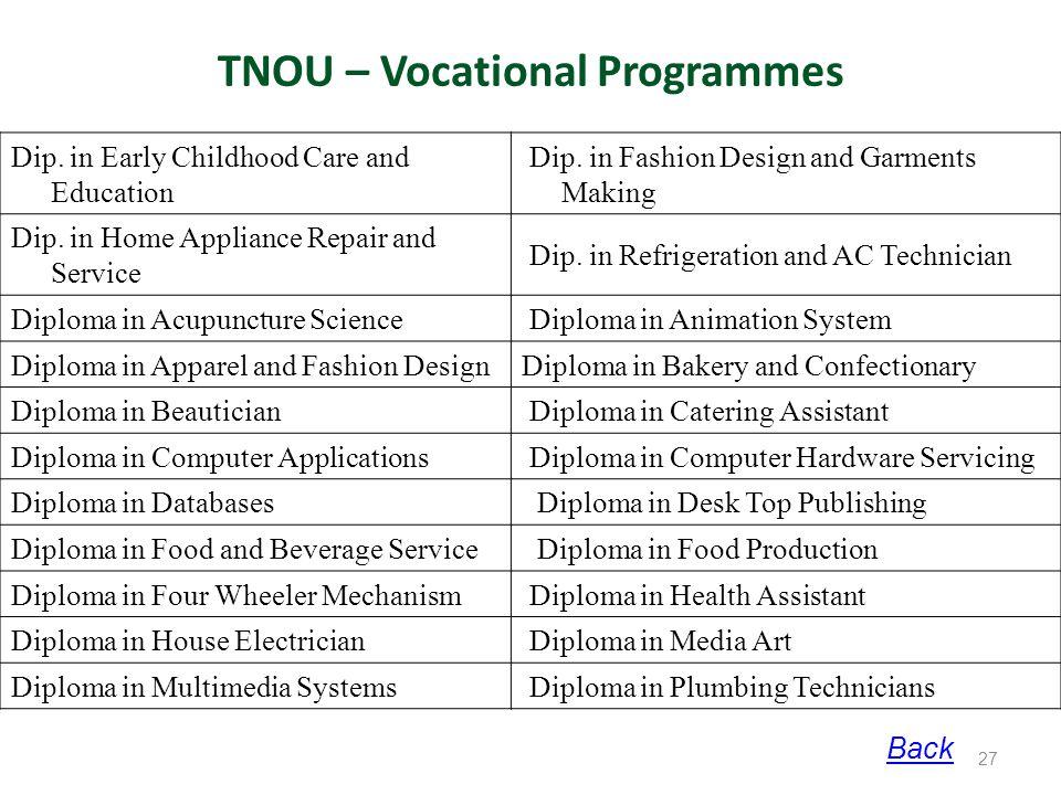 TNOU – Vocational Programmes