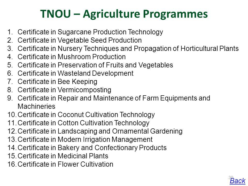 TNOU – Agriculture Programmes