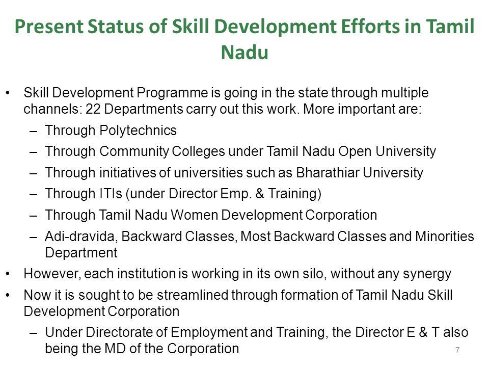 Present Status of Skill Development Efforts in Tamil Nadu