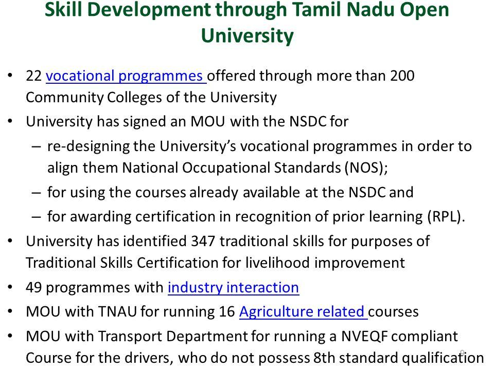 Skill Development through Tamil Nadu Open University