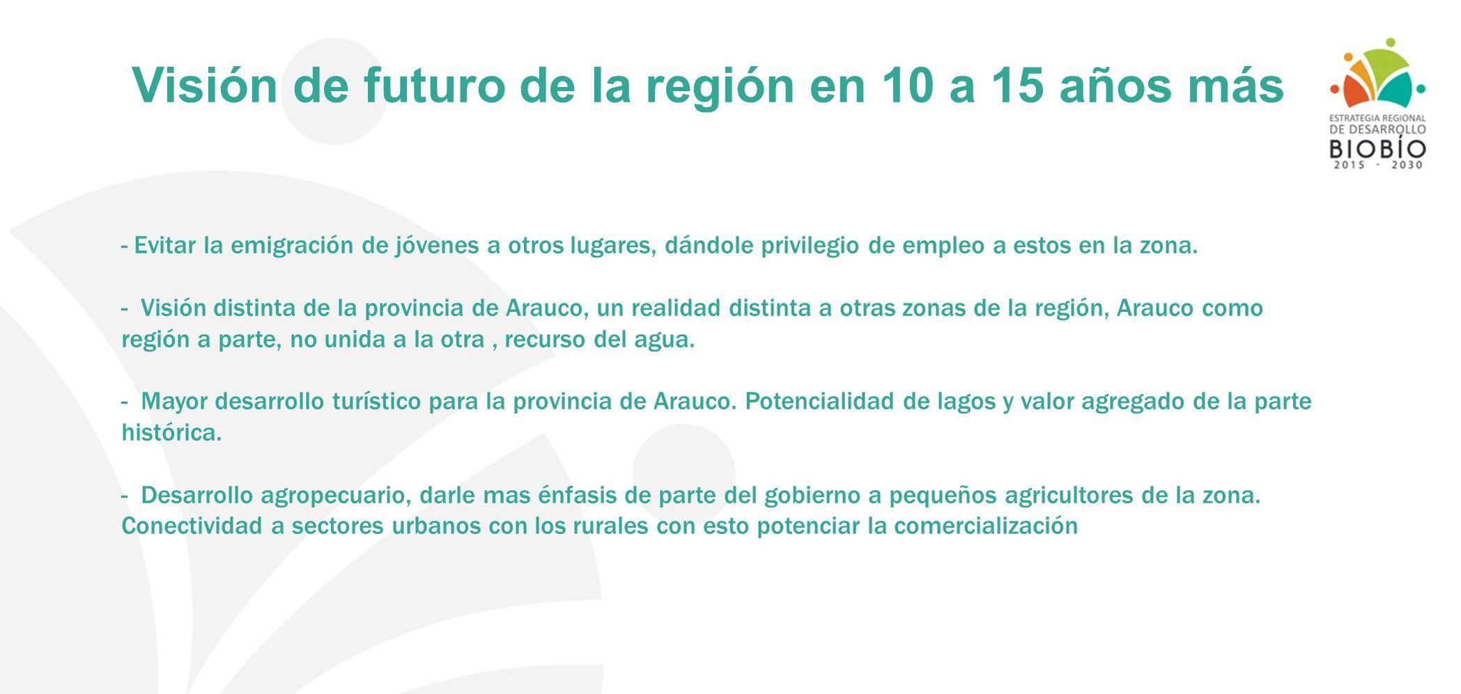 Visión de futuro de la región en 10 a 15 años más