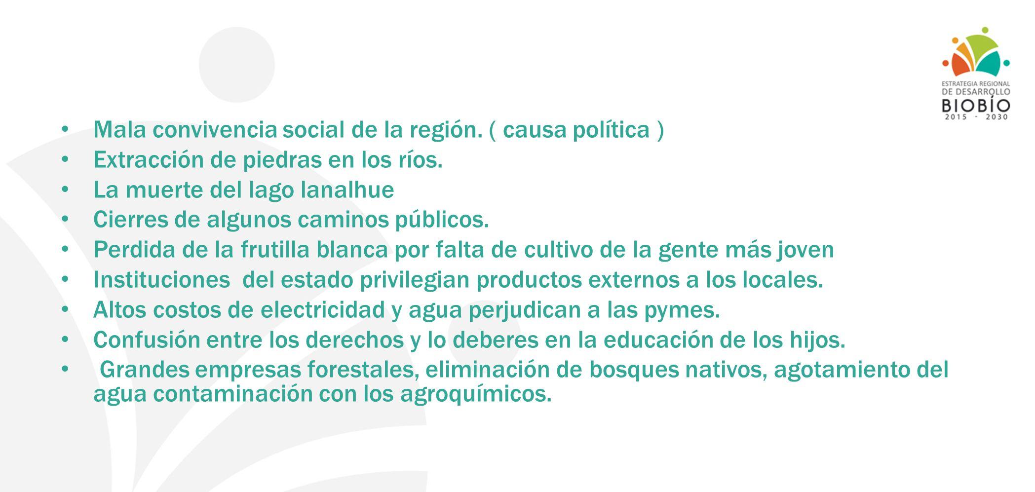 Mala convivencia social de la región. ( causa política )