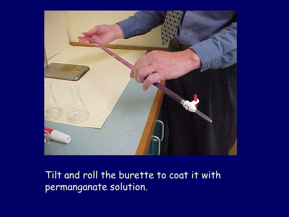 Tilt and roll the burette to coat it with permanganate solution.