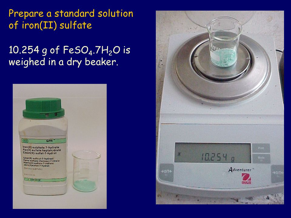 Prepare a standard solution of iron(II) sulfate