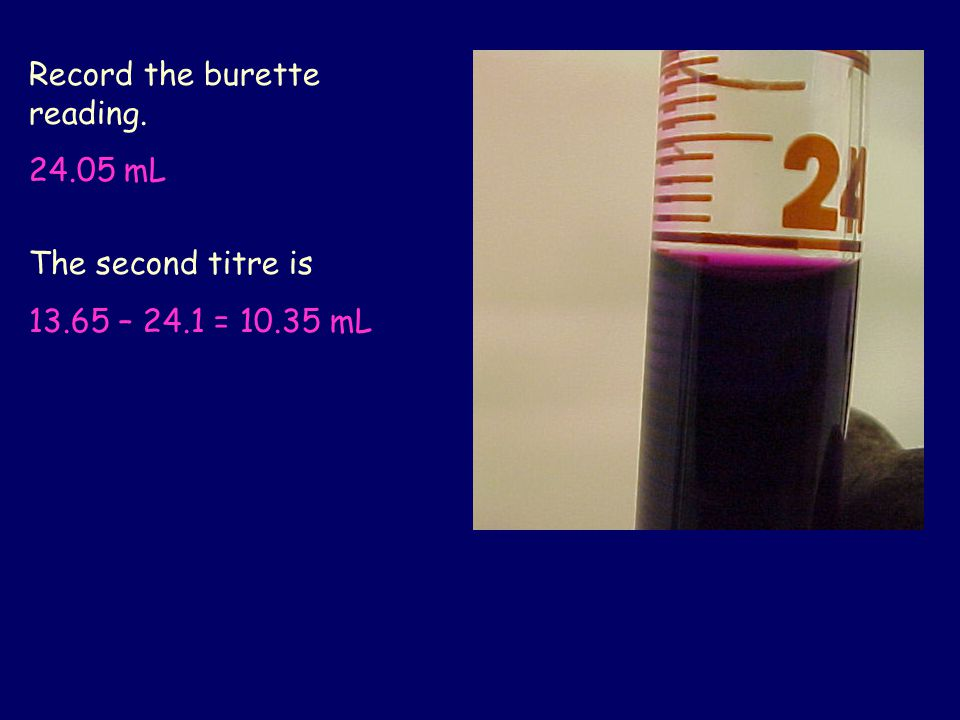 Record the burette reading.