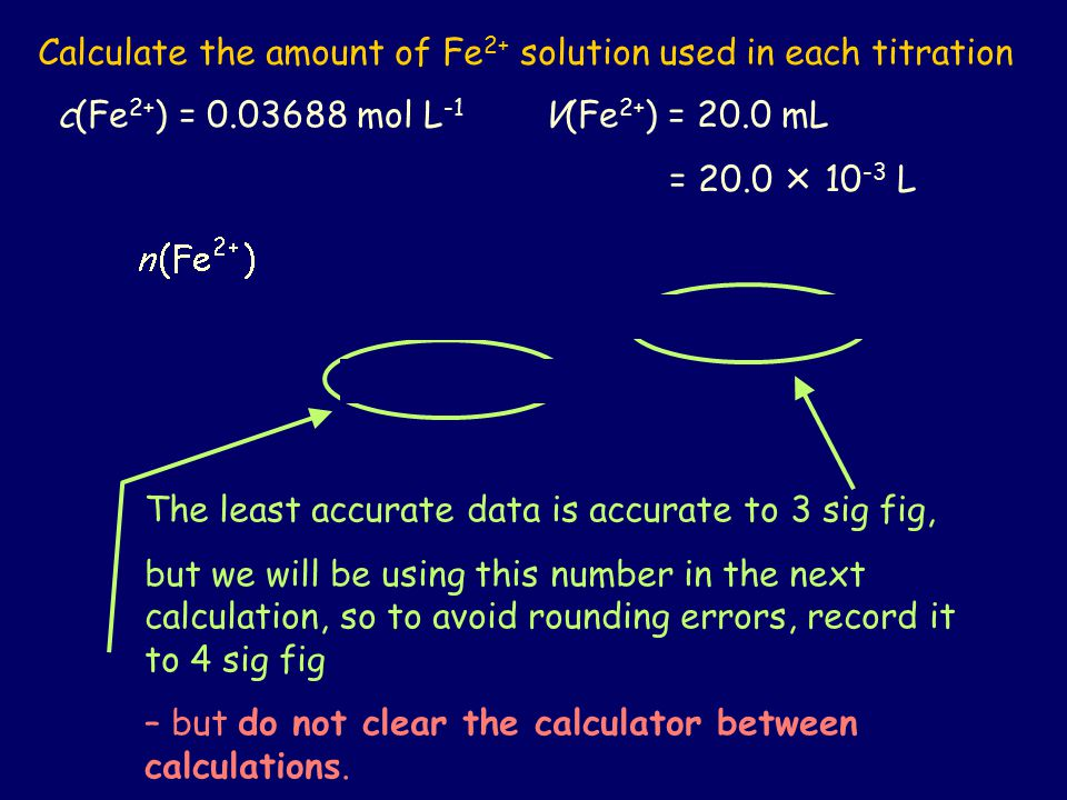 Calculate the amount of Fe2+ solution used in each titration
