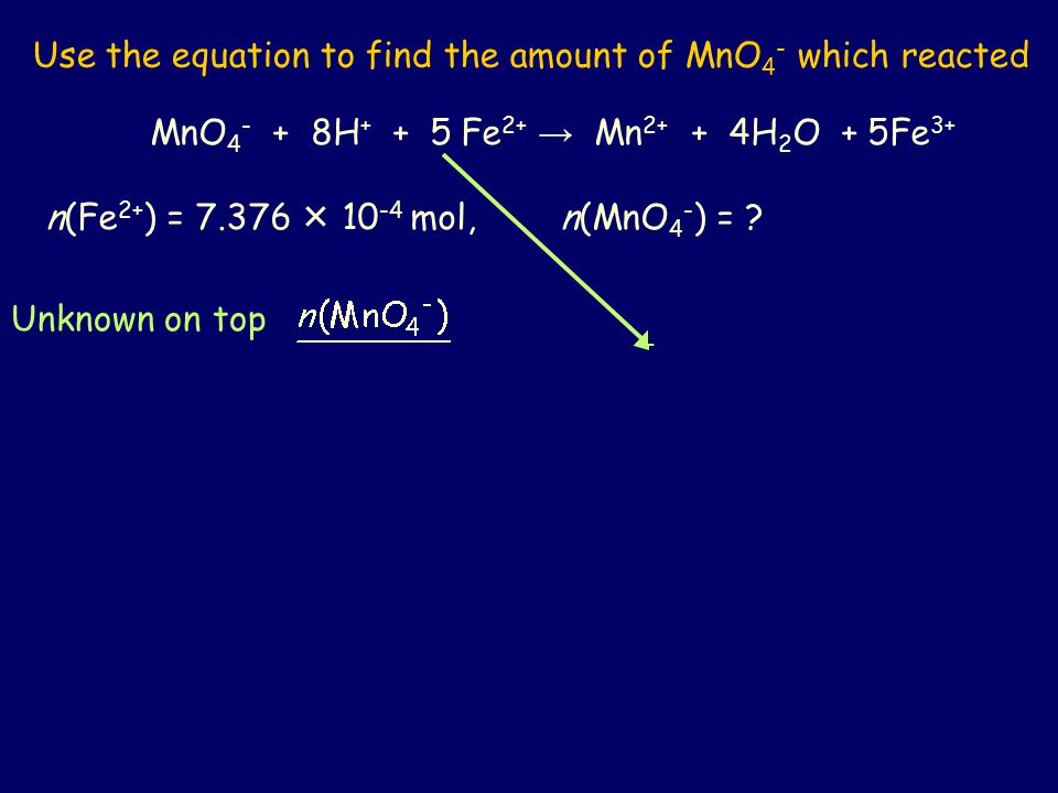 Use the equation to find the amount of MnO4- which reacted