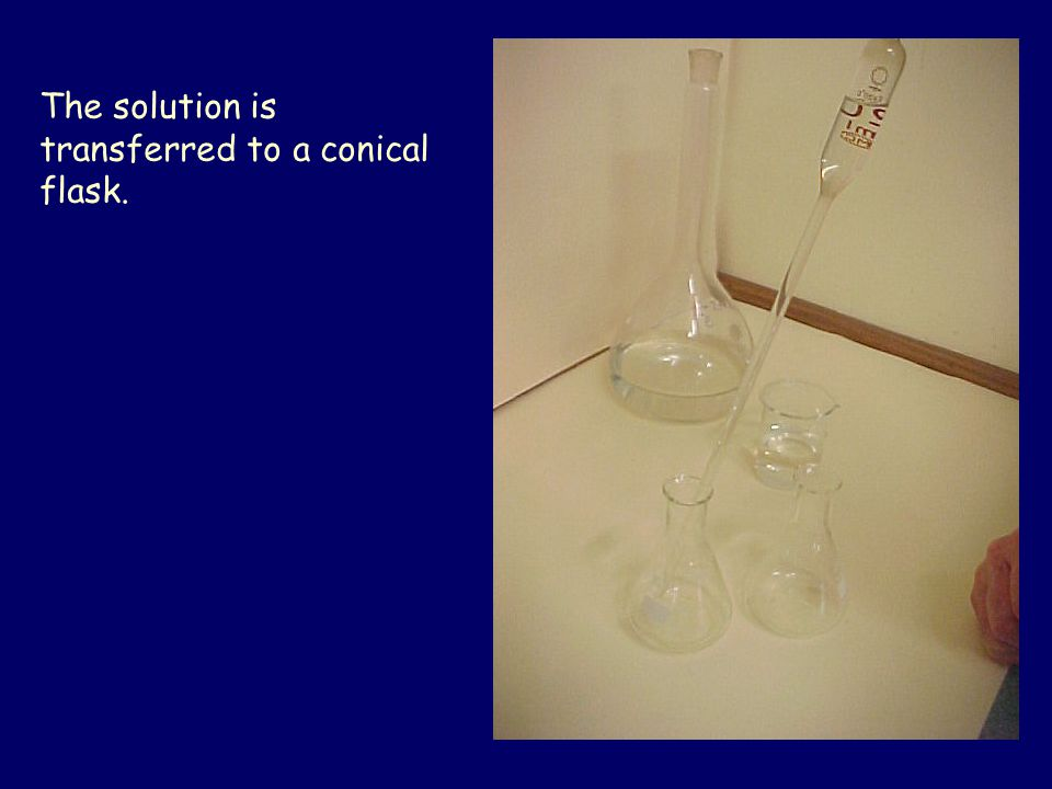 The solution is transferred to a conical flask.