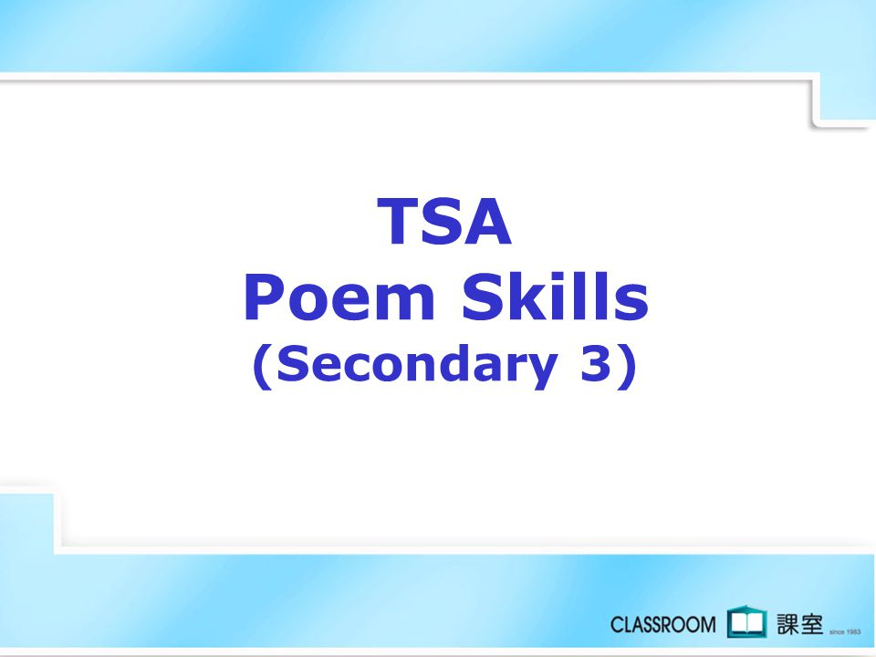 TSA Poem Skills (Secondary 3)