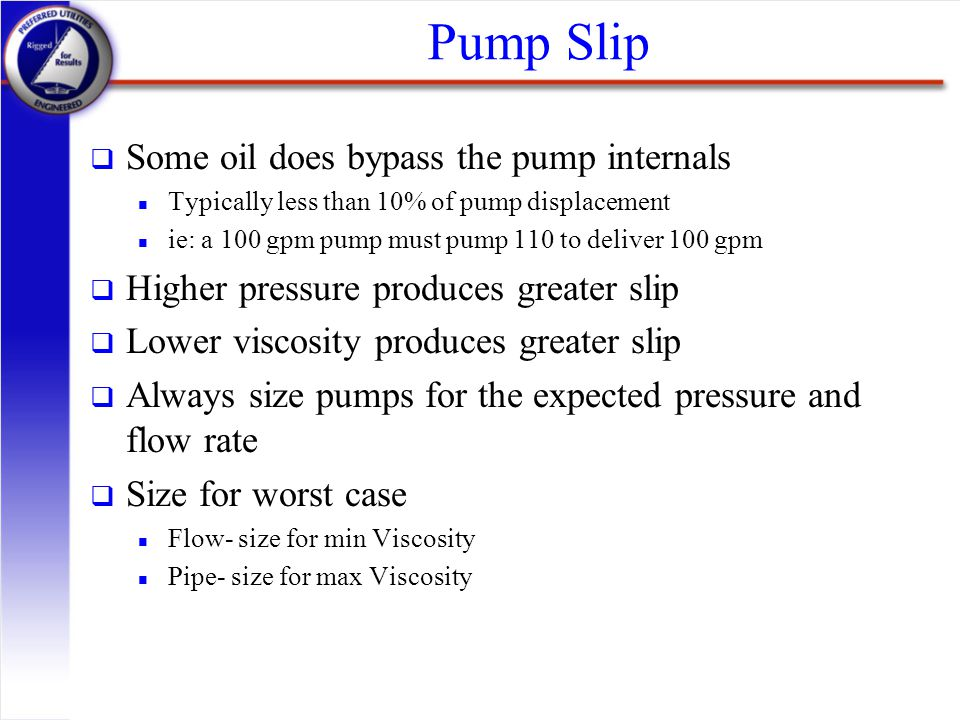 Pump Slip Some oil does bypass the pump internals