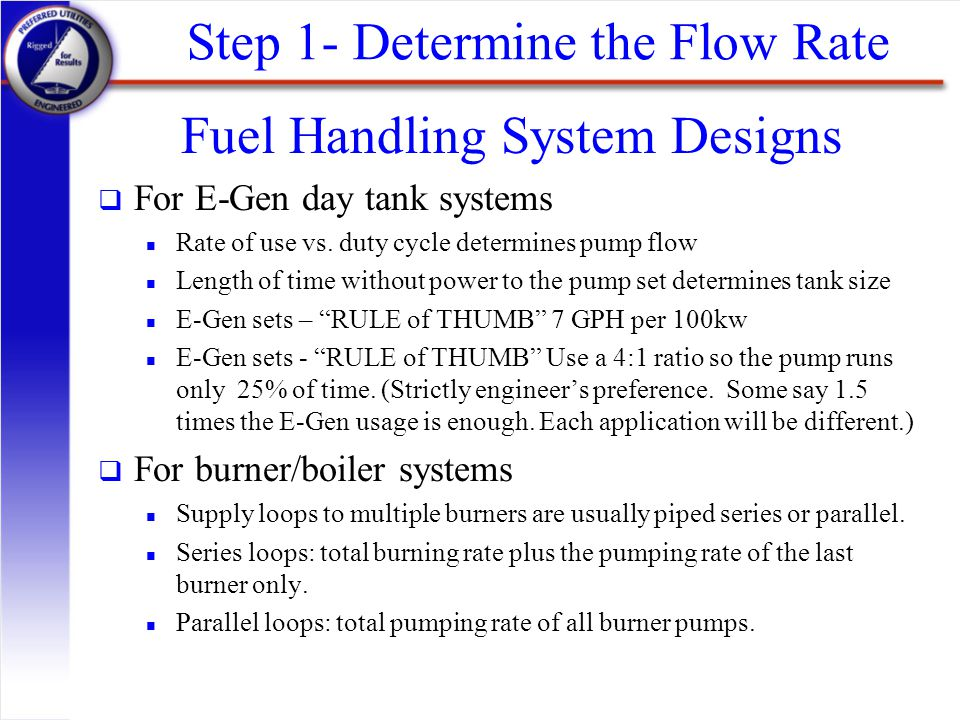 Step 1- Determine the Flow Rate