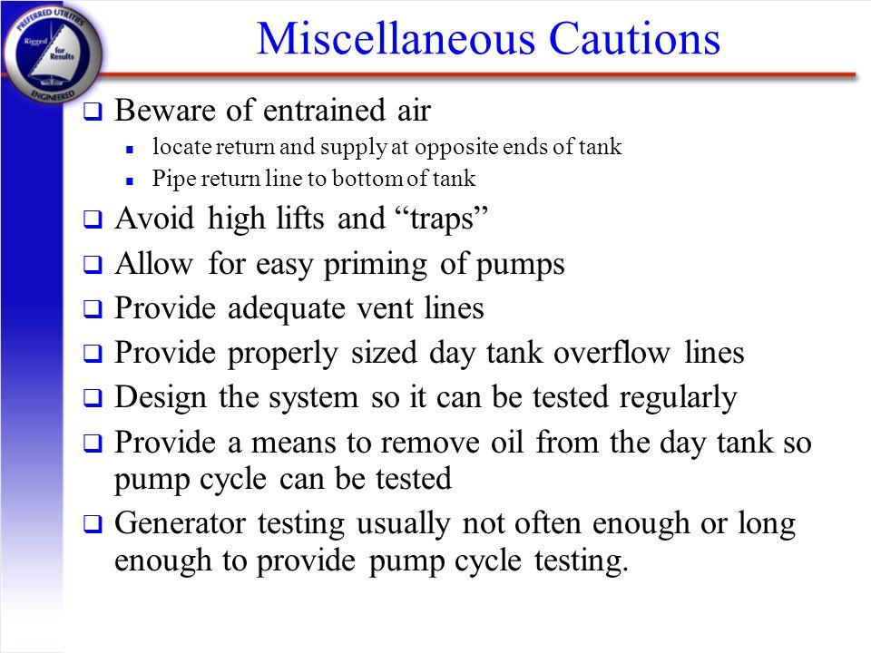 Miscellaneous Cautions