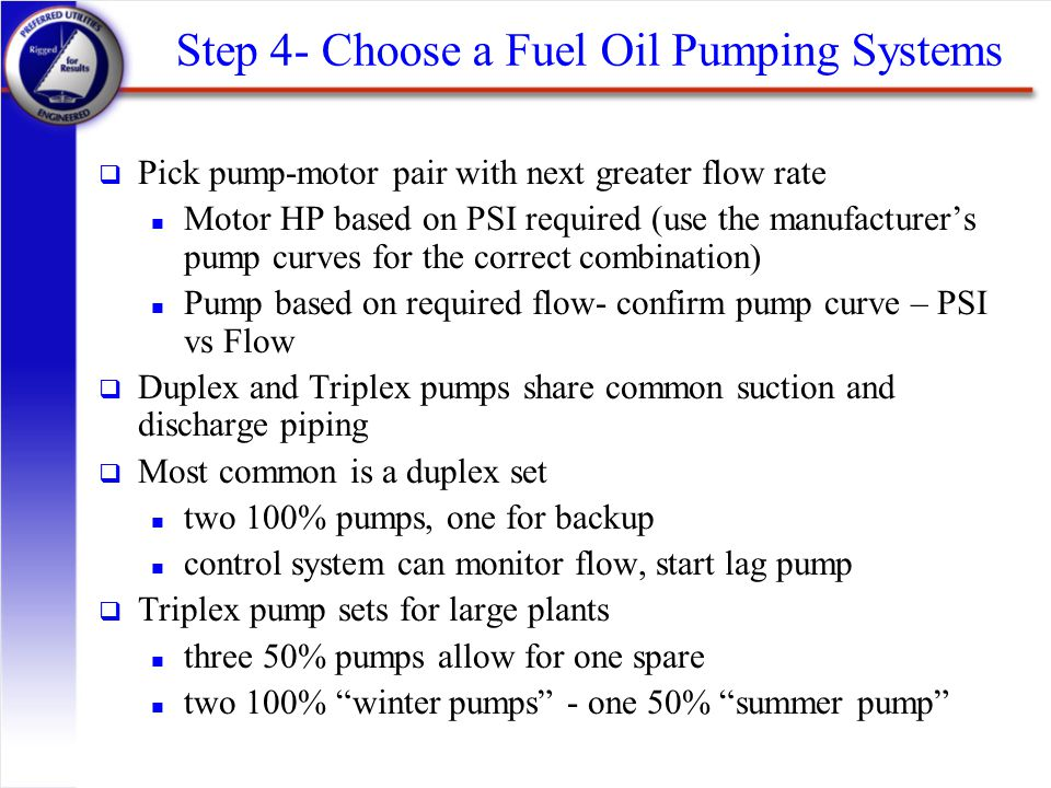 Step 4- Choose a Fuel Oil Pumping Systems