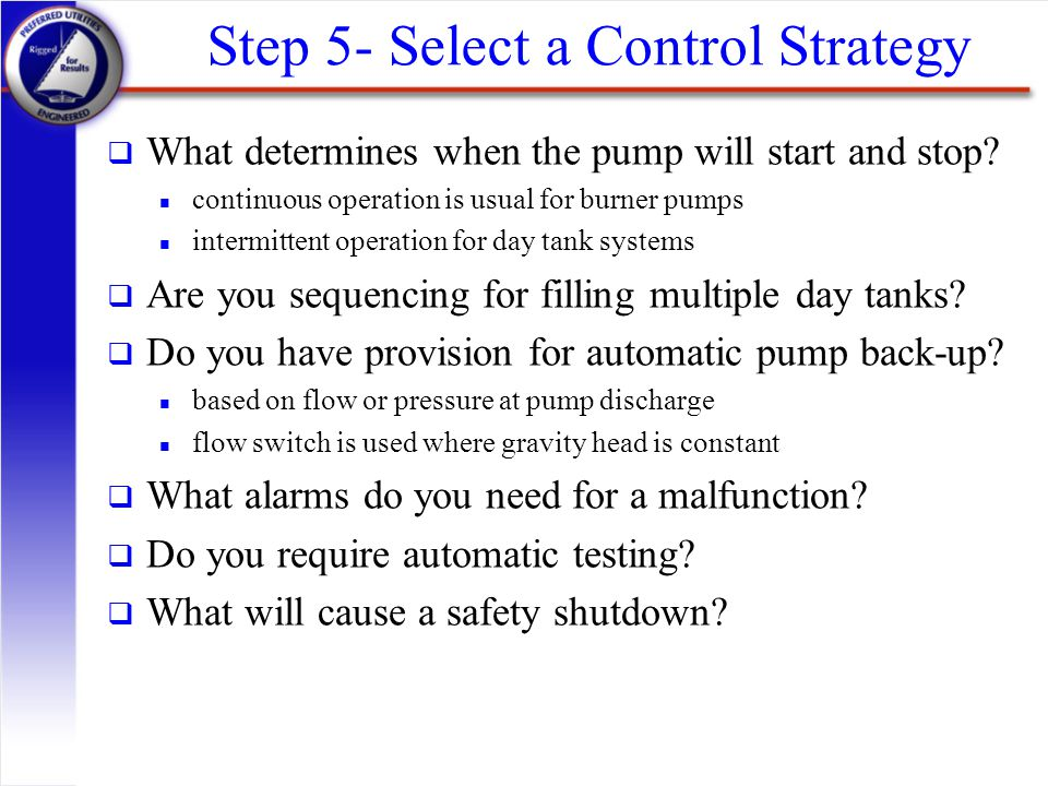 Step 5- Select a Control Strategy