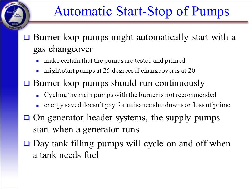 Automatic Start-Stop of Pumps