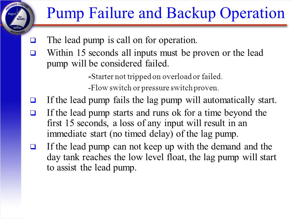 Pump Failure and Backup Operation