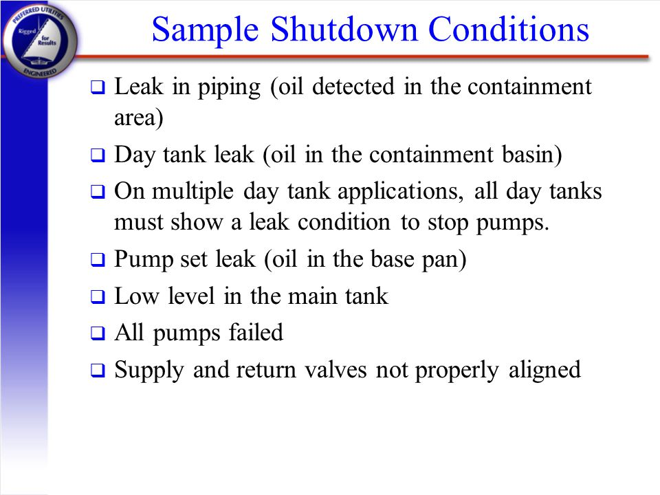 Sample Shutdown Conditions