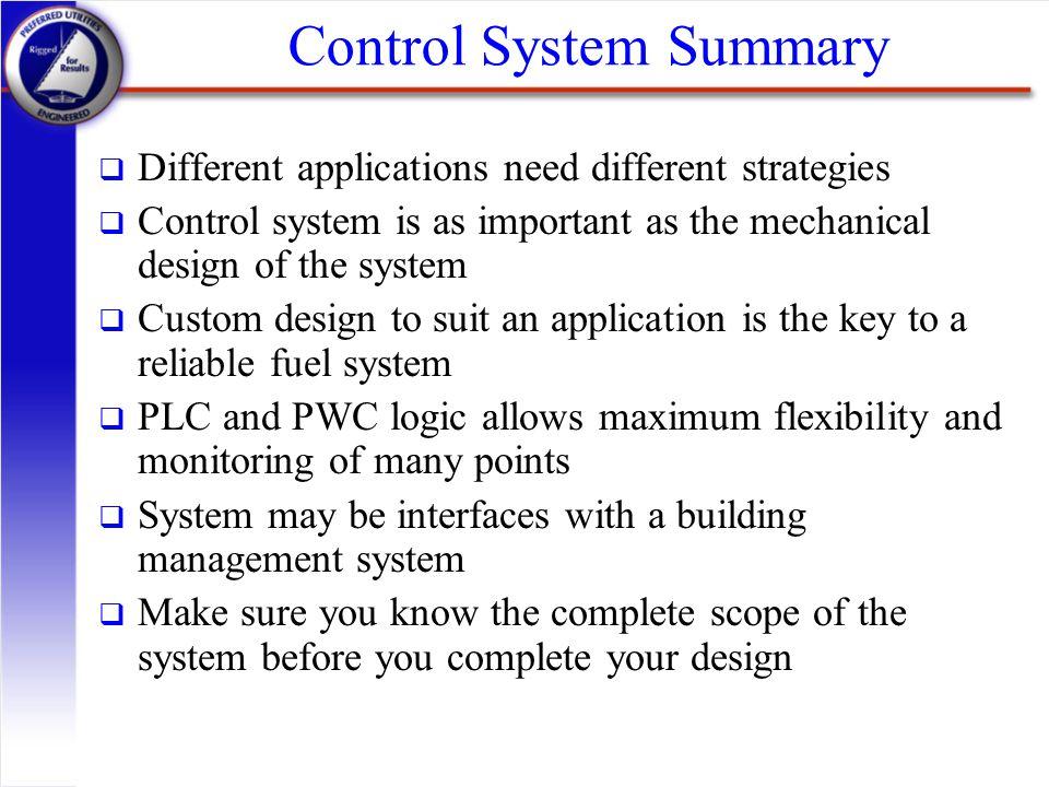 Control System Summary