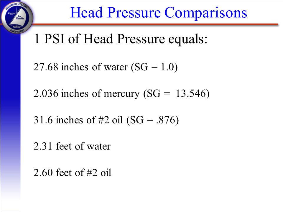 Head Pressure Comparisons