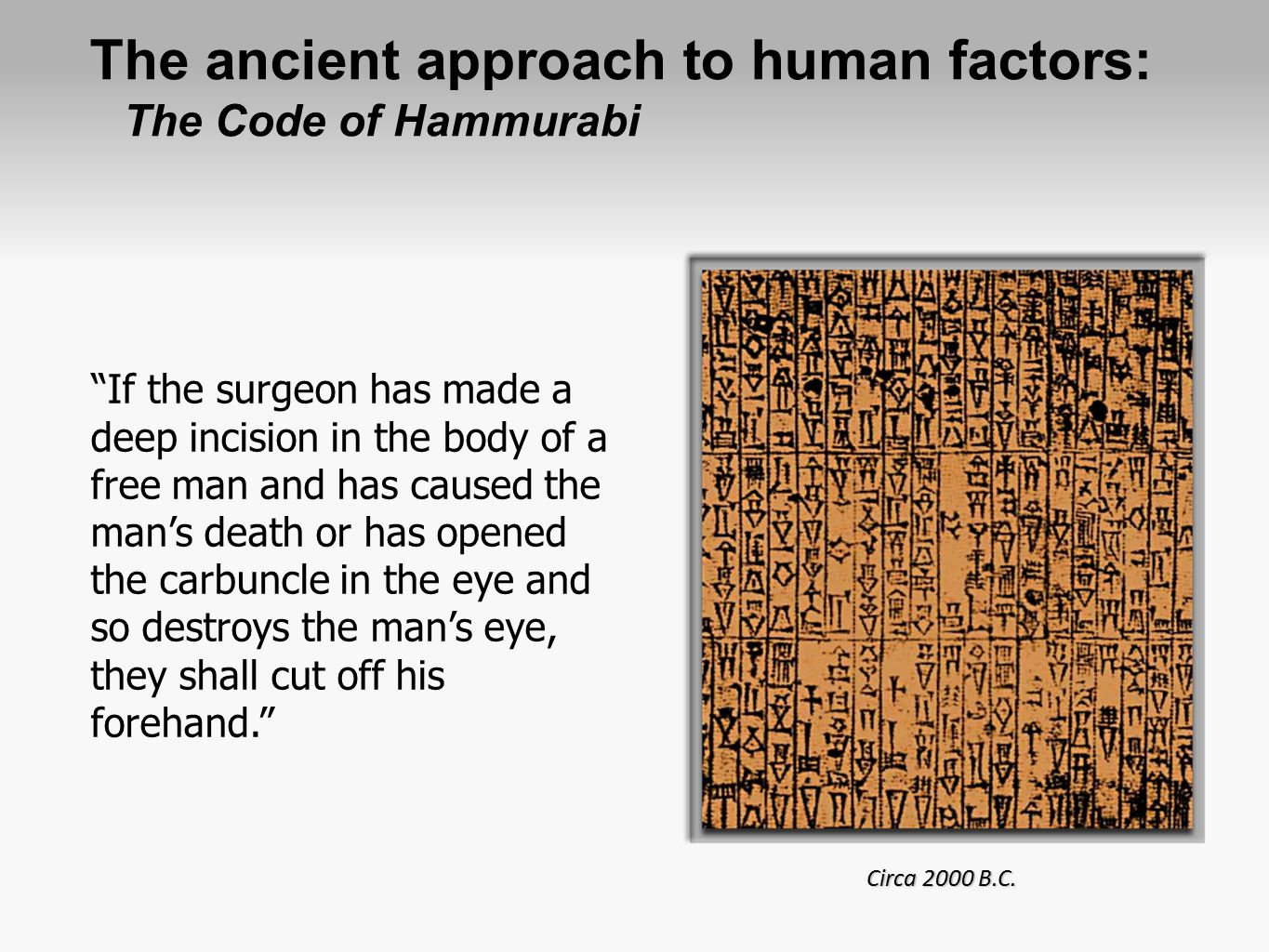 The ancient approach to human factors: The Code of Hammurabi