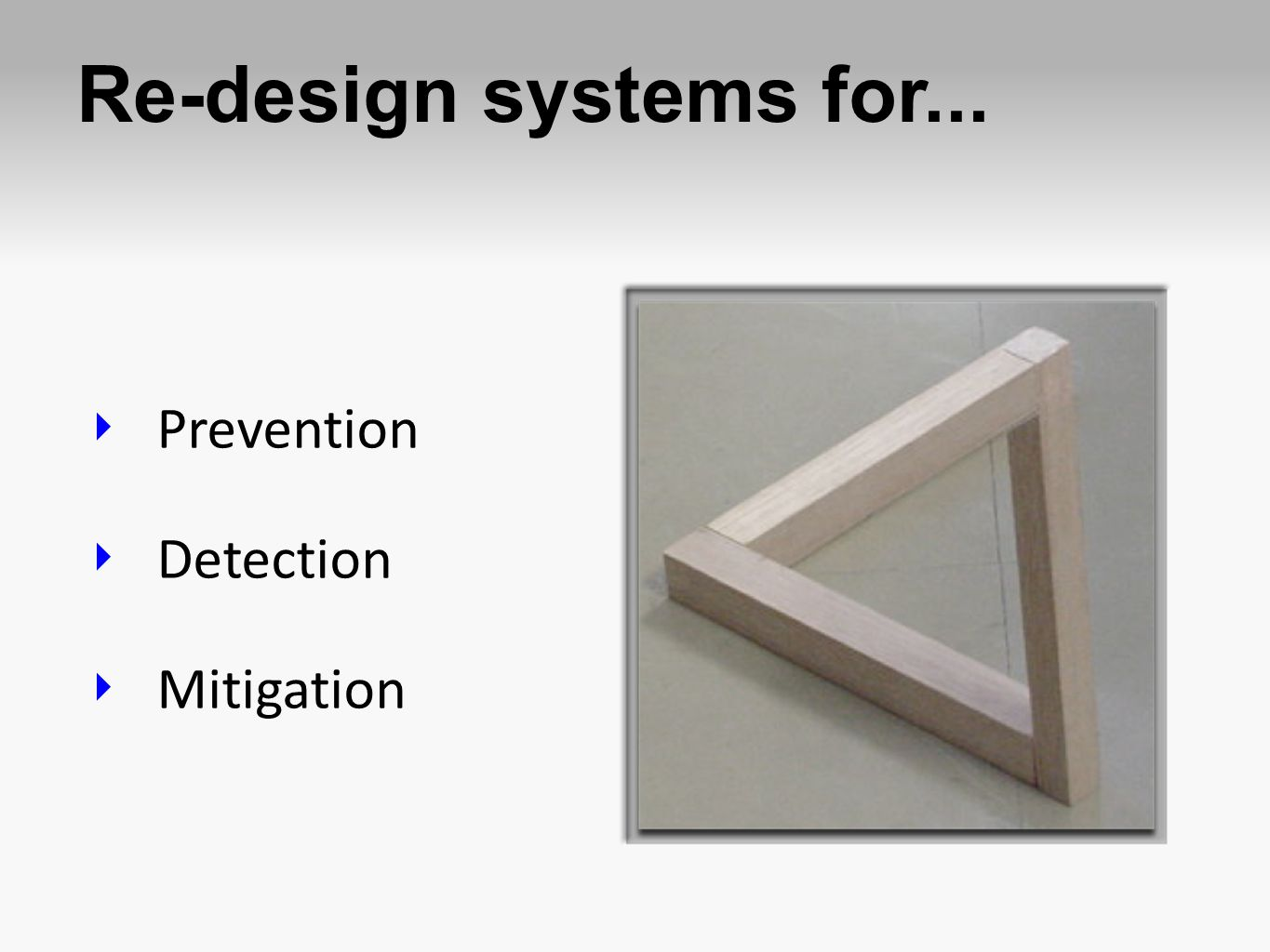 Re-design systems for... Prevention Detection Mitigation