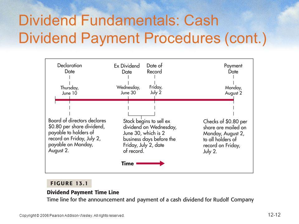 Dividend Fundamentals: Cash Dividend Payment Procedures (cont.)