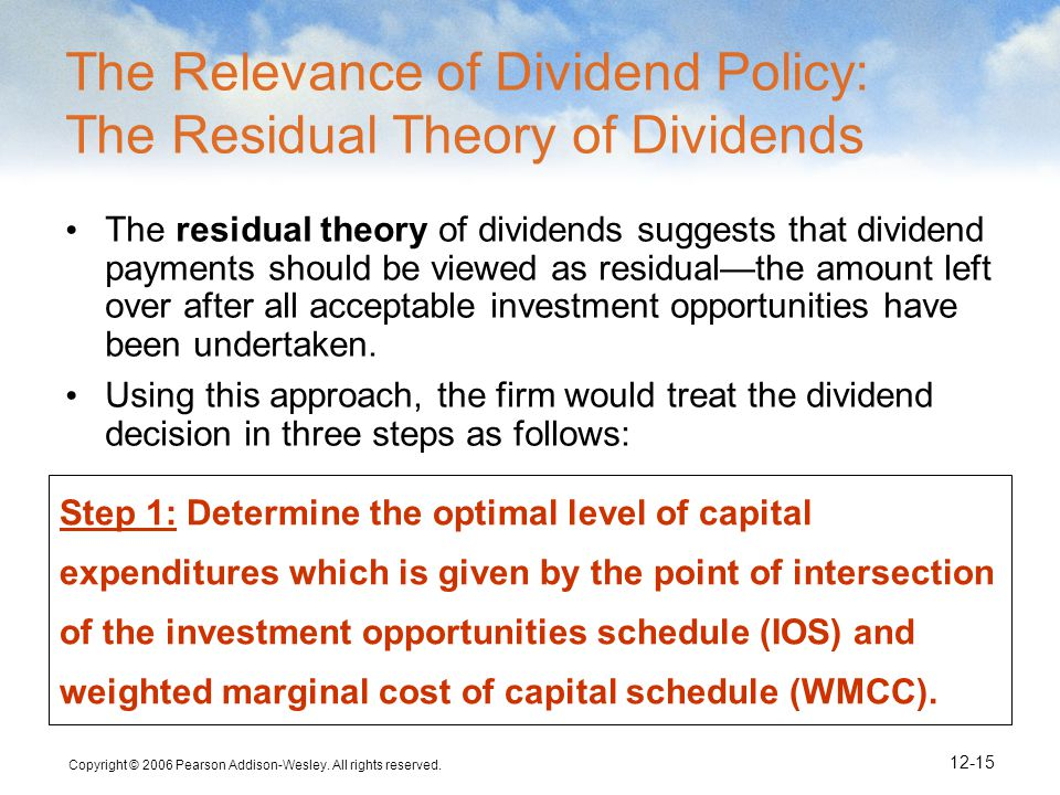 residual dividends Residual theory of dividends what does mean residual theory of dividends, definition and meaning of residual theory of dividends.