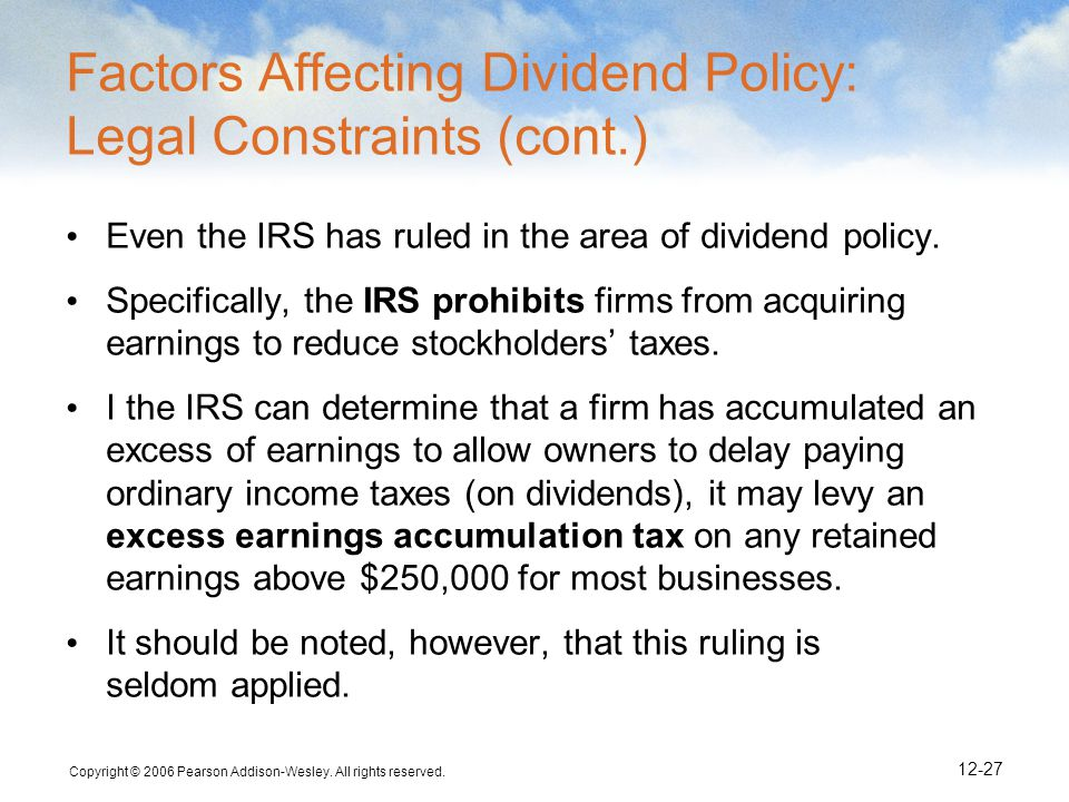 Factors Affecting Dividend Policy: Legal Constraints (cont.)