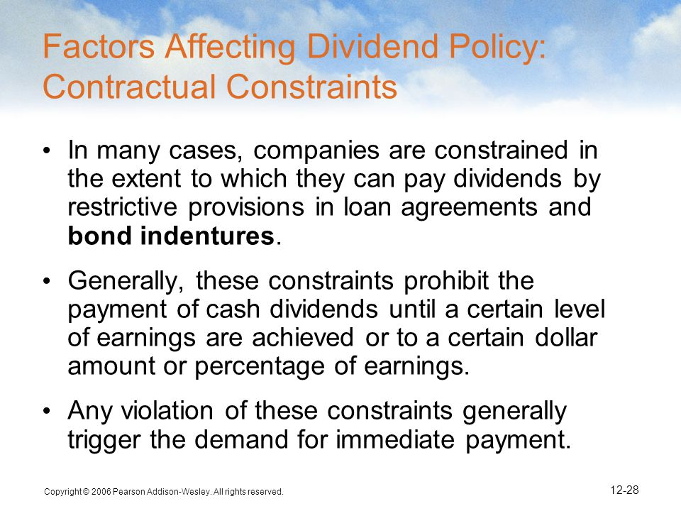 Factors Affecting Dividend Policy: Contractual Constraints