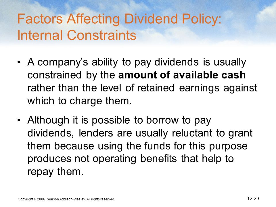 Factors Affecting Dividend Policy: Internal Constraints