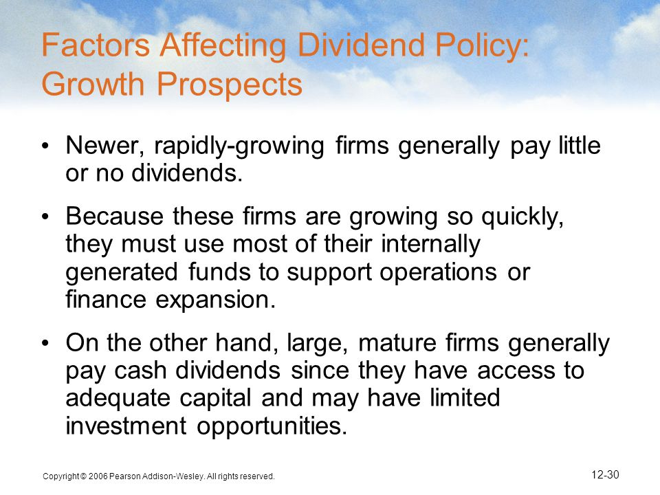 Factors Affecting Dividend Policy: Growth Prospects