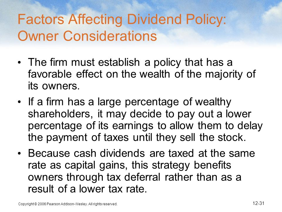 Factors Affecting Dividend Policy: Owner Considerations
